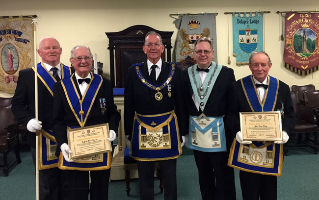 I(l to r) WBros Bob Cox (Prov DGDC), Geoff Gregory, Norman Pope (APGM), Steve Peskett (Ceres WM) & David Waddy