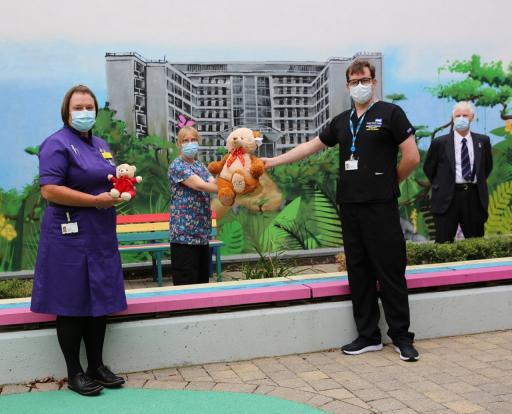 Joanne Bennis (Chief Nurse), Jackie James (Play Specialist), Dr. David Staples and Arthur Briggs (TLC Rep for Peterborough Hospital)